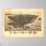 Vintage bildhafte Karte von Key West Florida Poster