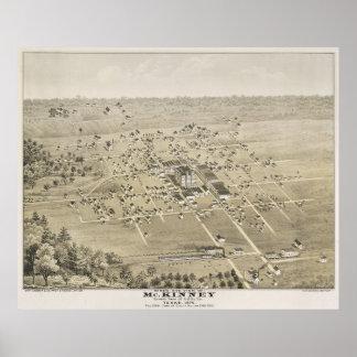 Vintage bildhafte Karte von McKinney Texas (1876) Poster