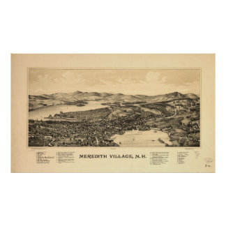 Vintage bildhafte Karte von Meredith NH (1899) Poster
