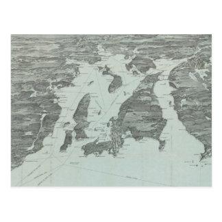 Vintage bildhafte Karte von Narragansett Bucht Postkarten