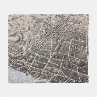 Vintage bildhafte Karte von Poughkeepsie NY (1871) Fleecedecke