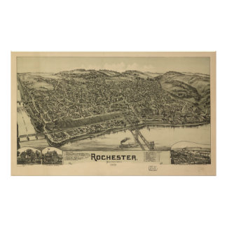 Vintage bildhafte Karte von Rochester PA (1900) Poster