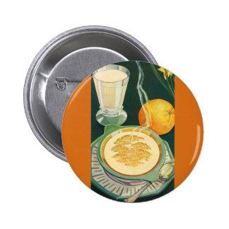 Vintage Biokost, Getränke, gesundes Frühstück Runder Button 5,7 Cm