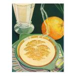 Vintage Biokost, Getränke, gesundes Frühstück Postkarten
