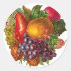 Vintage Birne, Traube, Zitrone, Apple und Walnüsse Runder Aufkleber