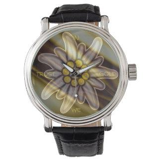 Vintage Black Watch Edelweiss IN GOLD WE TRUST Armbanduhr