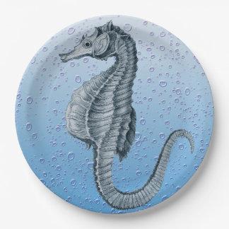 Vintage Blasen des Seepferds Pappteller
