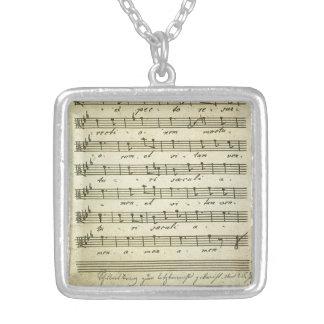 Vintage Blatt-Musik, antike musikalische Kerbe Halskette Mit Quadratischem Anhänger