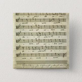 Vintage Blatt-Musik, antike musikalische Kerbe Quadratischer Button 5,1 Cm