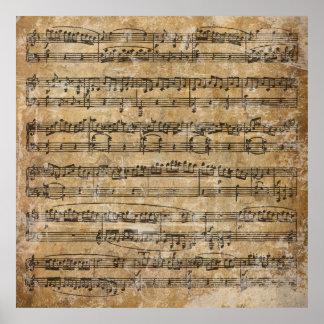 Vintage Blatt-Musik Posterdruck
