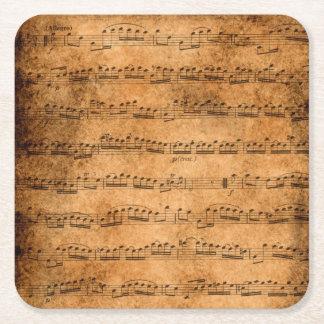Vintage Blattmusik Rechteckiger Pappuntersetzer