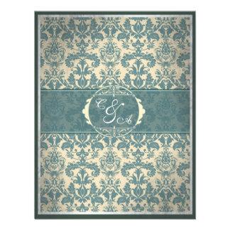 Vintage blaue Damast-Empfangskarte Personalisierte Einladung