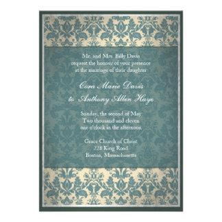 Vintage blaue Damast-Hochzeits-Einladung