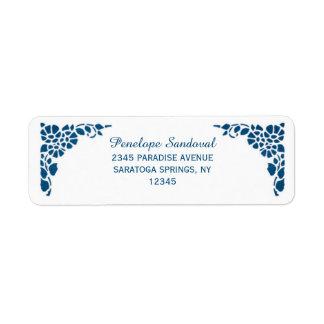 Vintage blaue Folien-Hochzeits-nautischaufkleber Rücksende Aufkleber