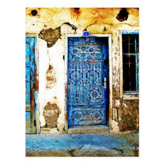 Vintage blaue griechische Tür-rustikale Art Postkarte