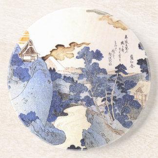 Vintage blaue japanische Kunst Bierdeckel