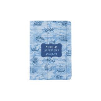 Vintage blaue Karten-Blick-Seemonster versendet   Passhülle