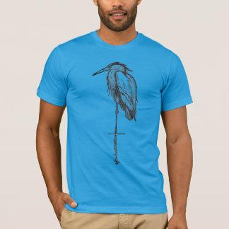 Vintage blaue Reiher-T - Shirts -