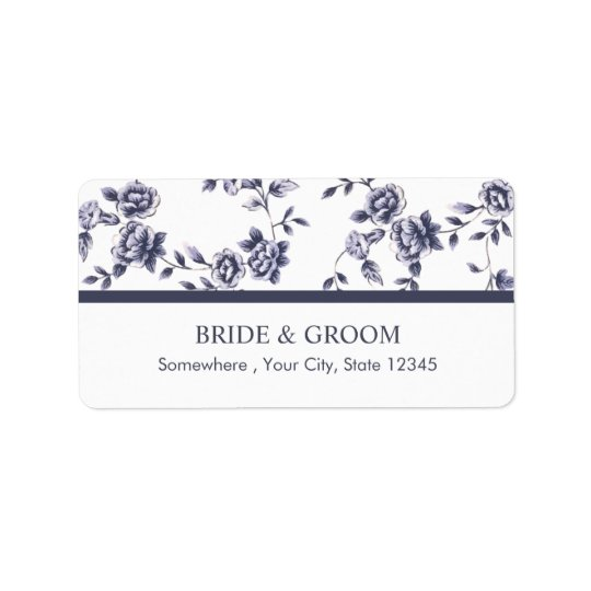 Vintage blaue u. weiße Blumenhochzeit Adressaufkleber