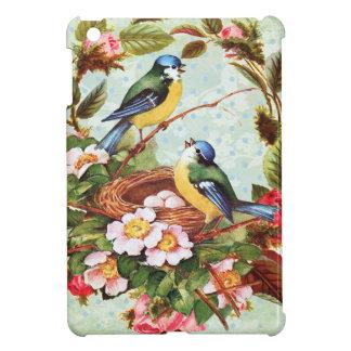 Vintage blaue Vögel und Blumen Hülle Für iPad Mini