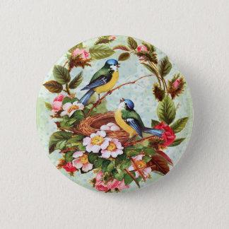 Vintage blaue Vögel und Blumen Runder Button 5,1 Cm