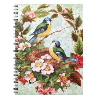 Vintage blaue Vögel und Blumen Spiral Notizblock