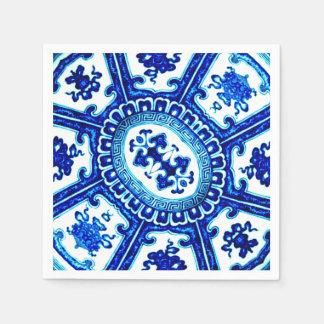 Vintage blaue weiße Fliese Serviette