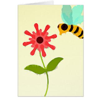 Vintage Blume und Biene Karte