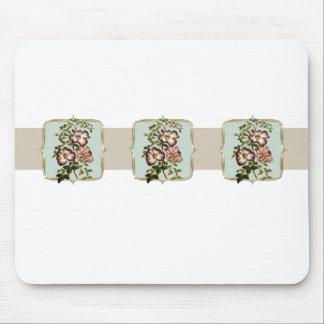 Vintage Blumen Browns breit Mousepad