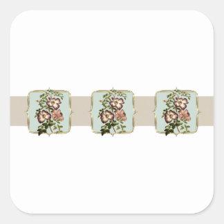 Vintage Blumen Browns breit Quadratischer Aufkleber