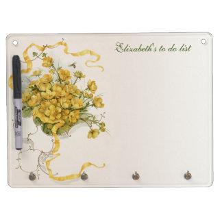 Vintage Blumen-, gelbe Blumen-Bienen-Band-Wiese Trockenlöschtafel Mit Schlüsselanhängern