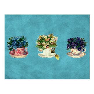 Vintage Blumen in den Schalen Postkarte