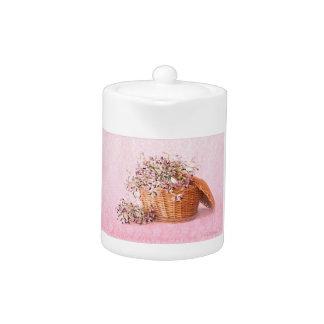 Vintage Blumen-Korb-Teekanne