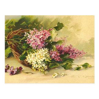 Vintage Blumen-Postkarte Postkarten