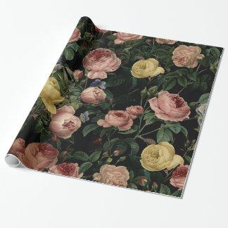Vintage Blumen-Rosen und Iris-Muster-Dunkle Träume Geschenkpapier