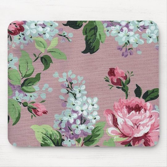 vintage blumen tapete mousepad zazzle. Black Bedroom Furniture Sets. Home Design Ideas