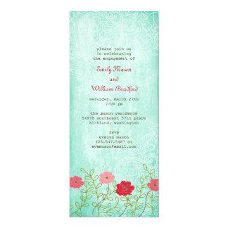 Vintage Blumen- und Blätter-Einladung Karte