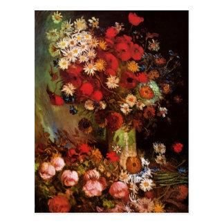 Vintage Blumen Van Gogh im Vasen-Blumennoch Leben Postkarte