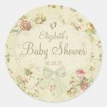 Vintage Blumenbaby-Dusche Runder Sticker