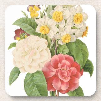 Vintage BlumenCamelia Narzissen-Blumen durch Untersetzer