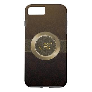 Vintage Blumendamaste/elegantes Leder-/Goldmetall iPhone 8 Plus/7 Plus Hülle