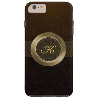 Vintage Blumendamaste/elegantes Leder-/Goldmetall Tough iPhone 6 Plus Hülle