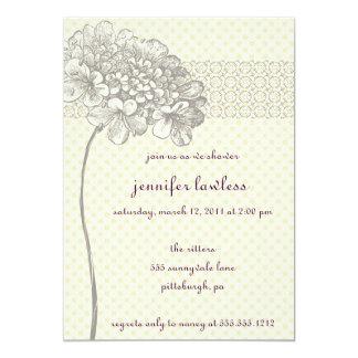 Vintage Blumenduscheneinladung 12,7 X 17,8 Cm Einladungskarte