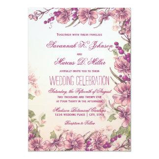 Vintage Blumengarten-Hochzeits-Einladungen Karte