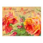 Vintage Blumengeburtstags-Postkarte