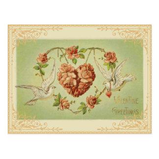 Vintage Blumenherz-und Tauben-Postkarte Postkarte