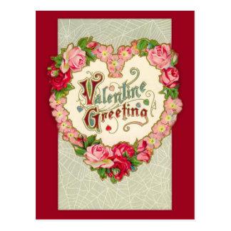 Vintage Blumenherzvalentine-Postkarte Postkarte