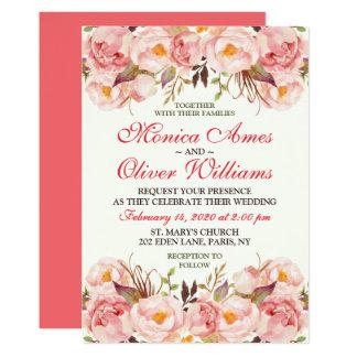 Vintage Blumenhochzeits-Rosewatercolor-Einladung Karte