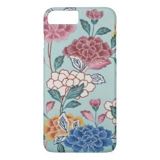 Vintage Blumenmuster-asiatische Kunst blauer iPhone 7 Plus Hülle