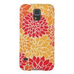 Vintage Blumenmuster-orange Rot-Dahlie-Blumen Hülle Fürs Galaxy S5